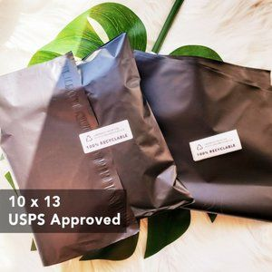 50 Recyclable Black Mailers With Labels 10x13